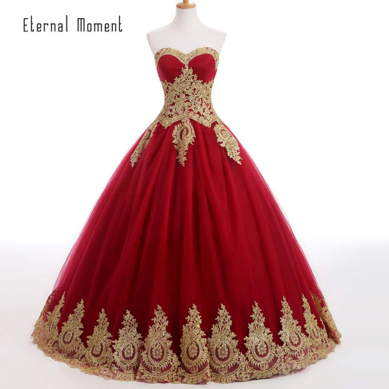 Burgundy Ball Gown Evening font b Dress b font with Gold Appliques Sweetheart Long Formal Evening