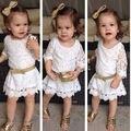 2017 Мода Детские Дети Девочки Принцесса Белый Цветок Формальные Кружева Туту Платье 2-11Y