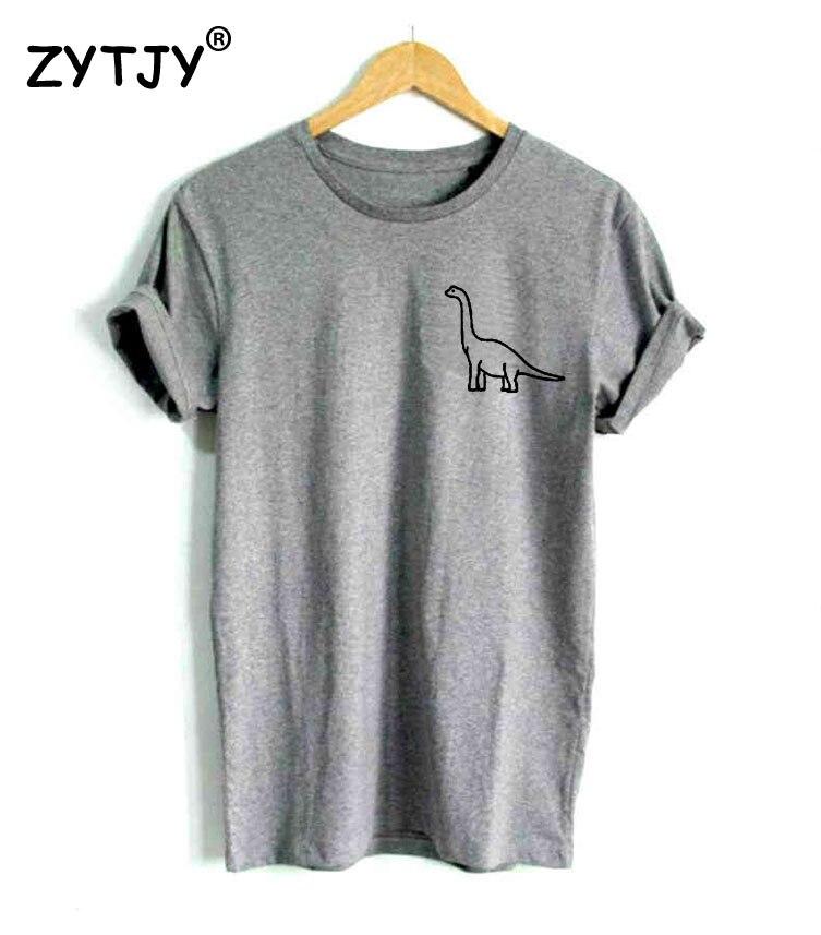 Динозавр карман принт Для женщин футболка Повседневное хлопок Битник Забавный Футболка для леди верхний тройник tumblr Прямая поставка ba-36