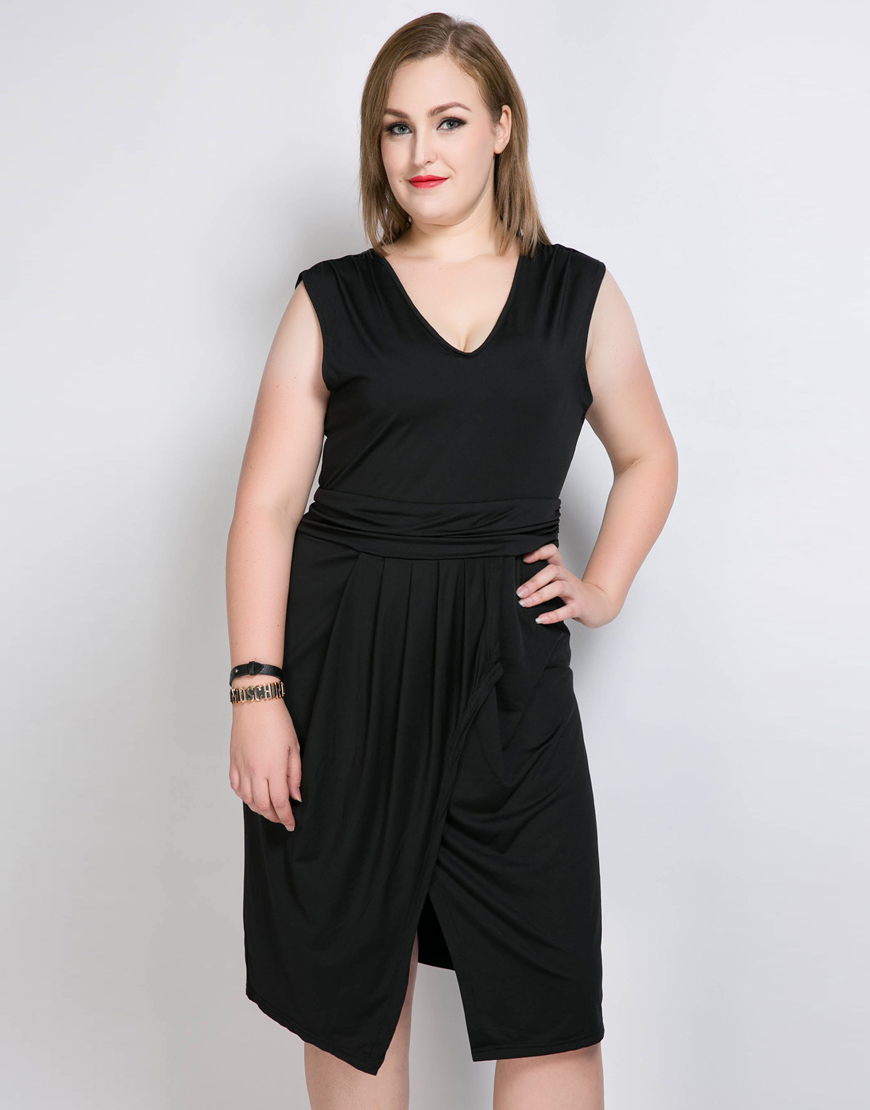 3aba8cb9e5c1 Cute Ann Women s Sexy V neck Plus Size Wrap Dress Sleeveless Stretchy  Cocktail Party Semi Formal Summer Casual Dress -in Dresses from Women s  Clothing ...