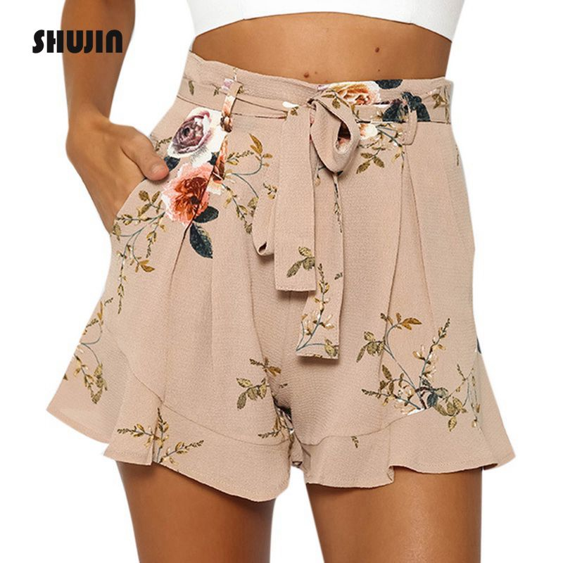 SHUJIN   Shorts   Women Floral Print   Short   2018 Summer Casual Loose High Waist   Shorts   Female Fashion Sexy   Shorts   Plus Size