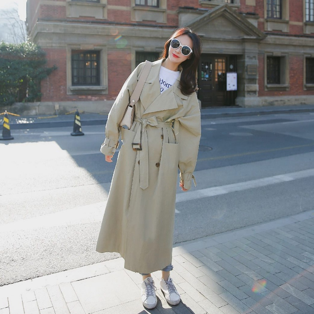 Add Long   Trench   Coat Collect Waist Lacing Outerwear OL Windbreaker Loose Coat Woman Pocket Thin Overknee Chic Overcoat