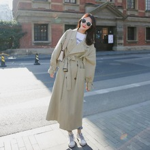 Long Trench Coats Fashion Lady Waist Sashes Outerwear Windbreaker Loose Coat Big