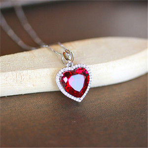 Image 5 - Heart Ruby Vintage Pendants S925 Sterling Silver Necklace Fine Jewelry Bridal Wedding Engagement Bijouterie No Chain