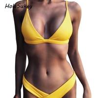 HolaSukey Solid Bikinis 2018 New Women Swimwear Brazilian Retro Bikini Set Sexy Low Waist Swimsuits Female