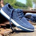 2017 Старинных Джинсовой Холст Обувь Мужчины Низкий Узелок Мода Повседневная Обувь Квартиры MSN11