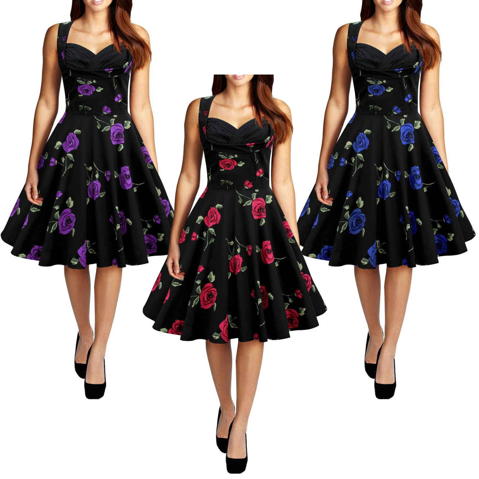 e28544f792214 Ladys Vintage Style 1950's Floral Rockabilly Party Swing Dress New Women  Summer Pinup Ladies Swing Elegant Dresses
