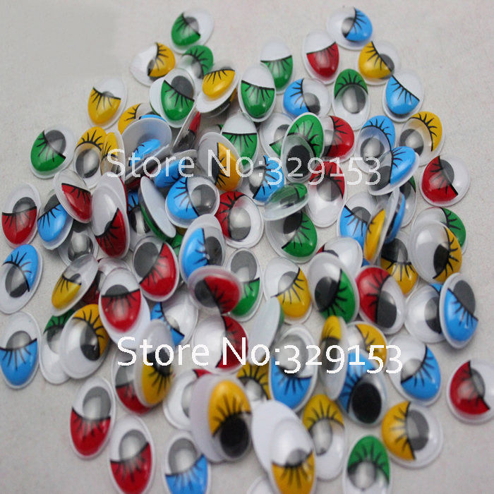 wholesale oval 16 12mm mix color plastic eyes doll eyes with eyelash Wiggle Eyes forDoll Toy