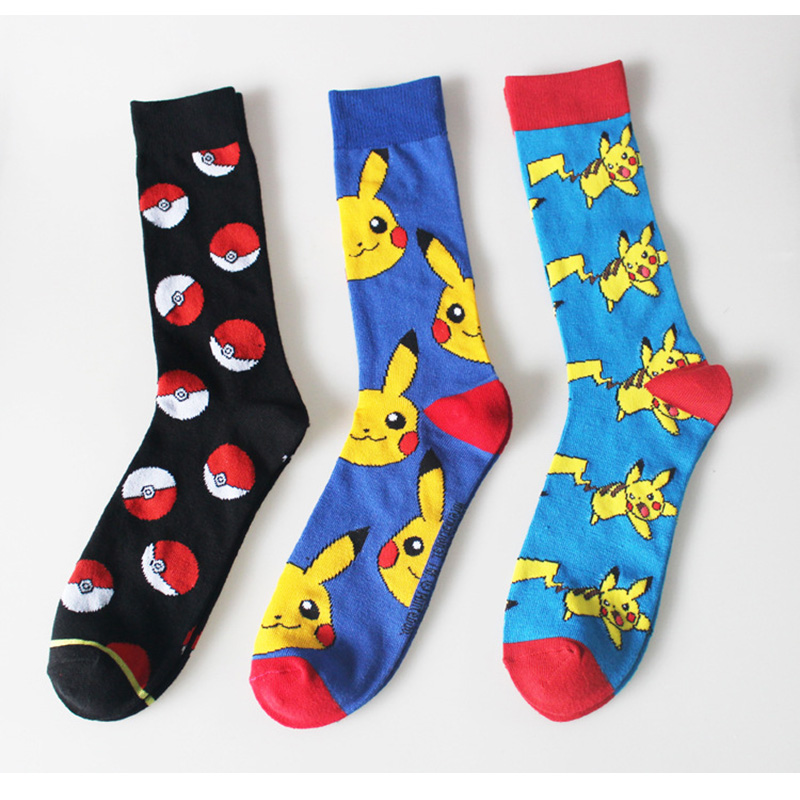 New Arrival Men Unisex Autumn Cotton Cartoon Pikachu Pokemon Poke Ball Knitted Casual Walking Man Socks 12Piars/lot