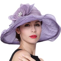 June S Young Free Shipping Women Summer Hats Romantic Purple Color Silk Sinamay Material High Quality