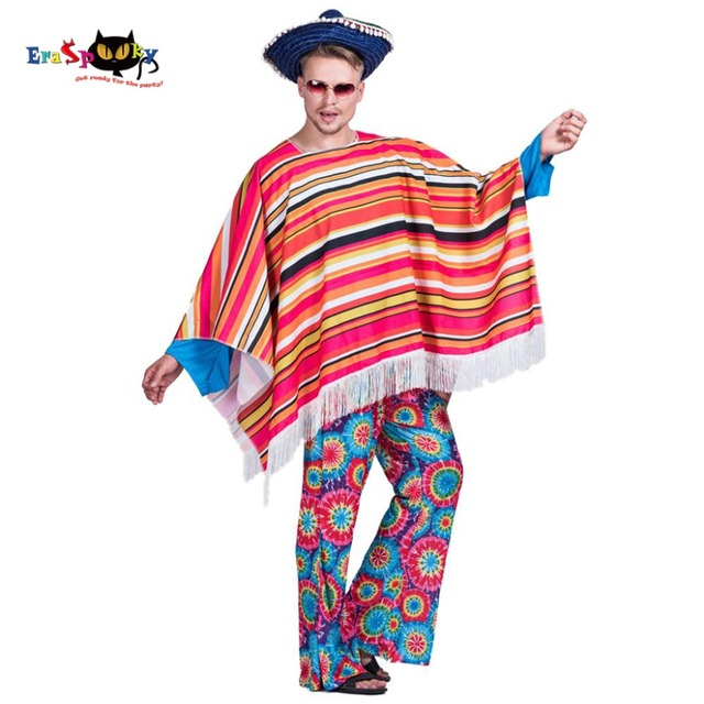 Homens Poncho Mexicano Bandido Wild West Cowboy Traje Festa de Carnaval  Adulto Masculino Roupas Cobertor Roupas 8e9ea4bf22b