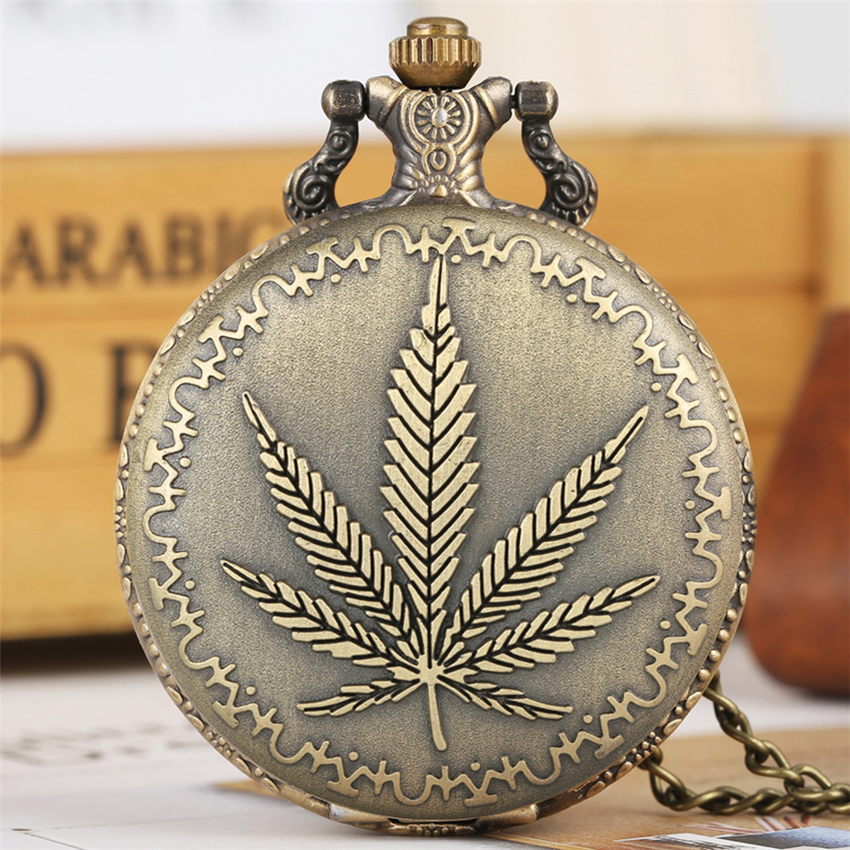 Antique Bronze Leaf Display Full Hunter Pendant Quartz Pocket Watch Classic Arabic Numerals Vintage Clock Gifts Men Women Reloj