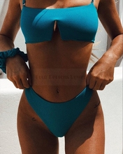 Women Triangle Padded Bra Push-up Bikini Solid White Blue Swimsuit Bathing Suit