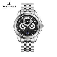 Reef Tiger/RT Fashion Moon Phase Watches for Men Full Stainless Steel Watches Waterproof RGA830
