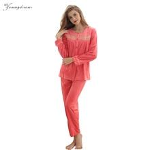 Фотография Yummydreams Autumn Winter Women Velvet Pajamas Set Sleep Jacket Pant Sleepwear Warm Nightgown Female  Animal Pants Sleepwear