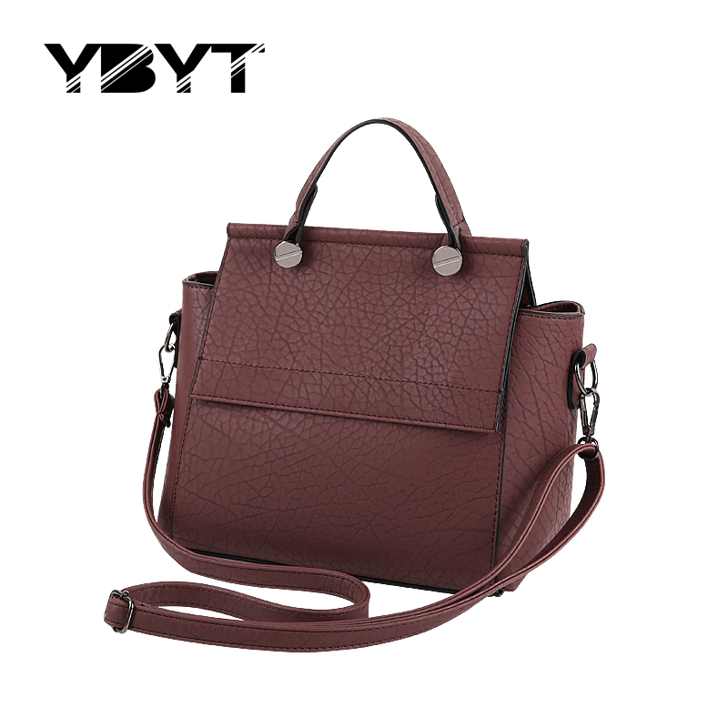 YBYT brand 2017 new fashion casual PU leather trapeze bags hotsale ladies handba