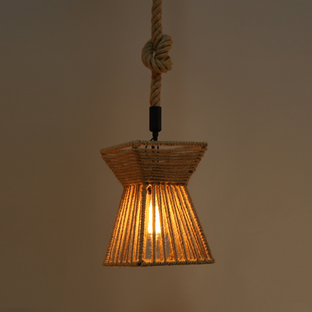 Rope Lights Kitchen: A05 Vintage Rustic Hemp Rope Pendant Light Retro Home