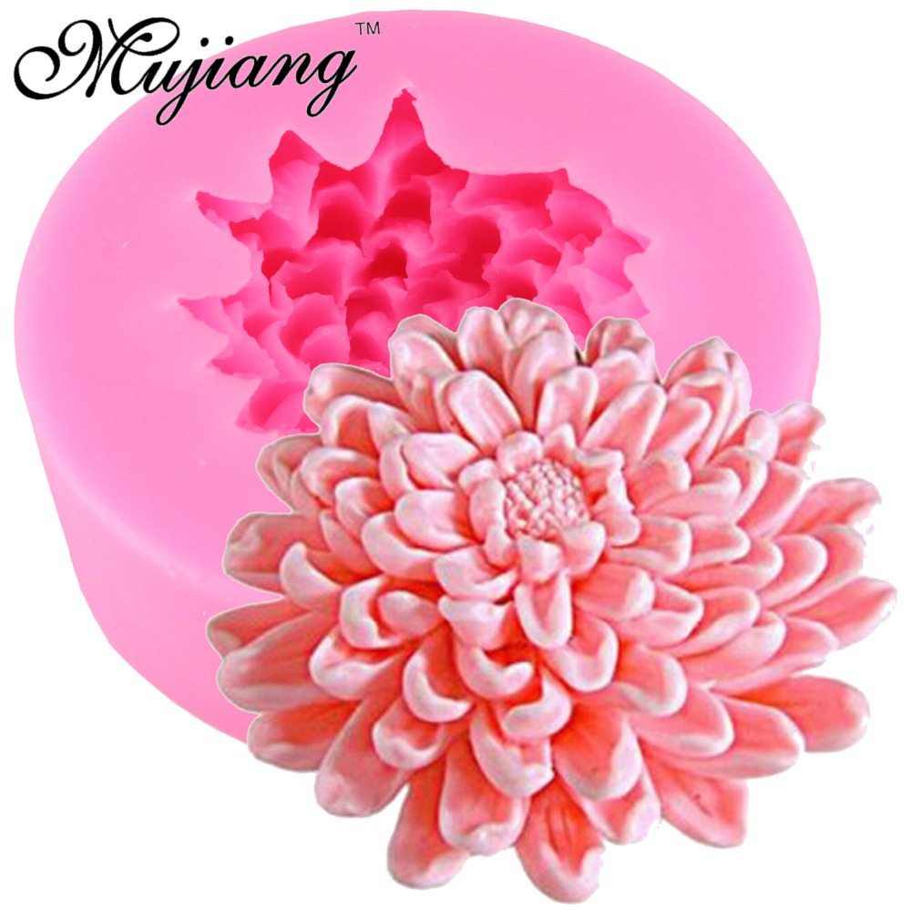 Mujiang 3D Chrysanthemums Flower Soap Silicone Molds Candle Clay Mold Fondant Cake Decorating Tools Chocolate Cake Baking Moulds