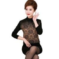 WAEOLSA Chinese Vrouw Elegante Gebreide Truien Rood Kaki Blauw Bloem Pullovers Midden Aged Womens Lovertjes Truien Winter Pull