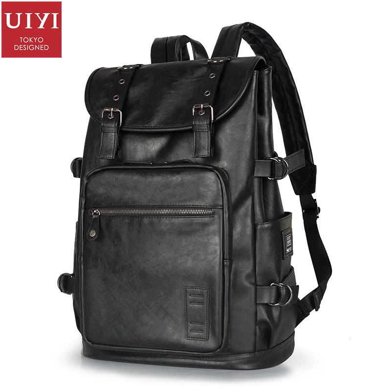UIYI Brand Casual Women Men Backpack For Traveling PU Leather Rucksack 15 Inch Laptop Black School College Bag Teebagers 150003 women backpack fashion pvc faux leather turtle backpack leather bag women traveling antitheft backpack black white free shipping