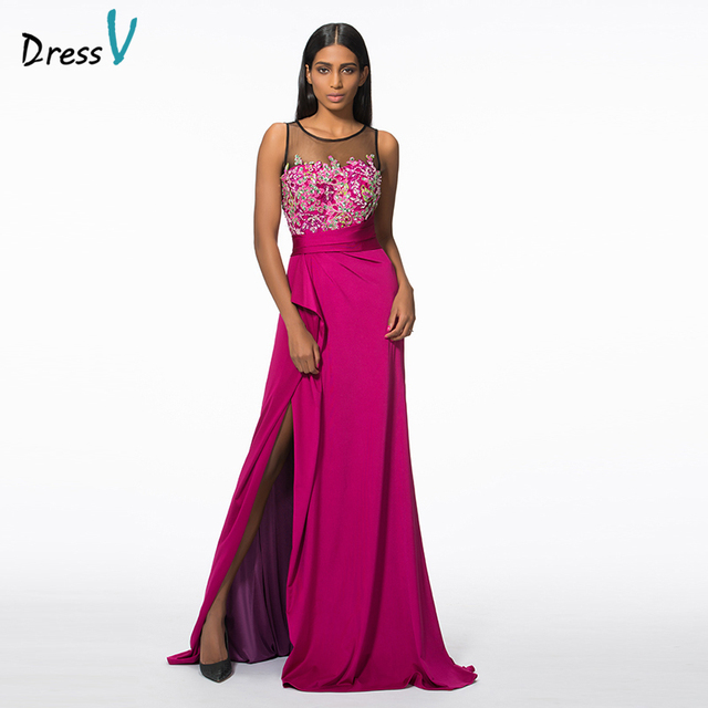 Dressv scoop neck appliques beading long evening dress 2017 red A ...