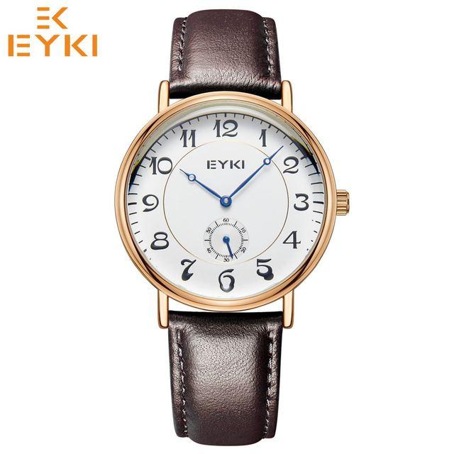 EYKI Retro Wrist watches Top Mens Women Watch Waterproof Leather Strap Quartz Mo