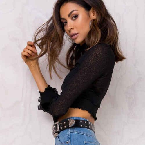 Hot Sexy 2017 Zomer Herfst Mode Vrouwen Kant Tops Losse Lange Mouw T-Shirt Casual Crop Top Shirt