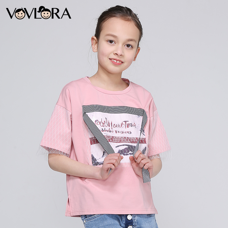 Girls Tops Print Letter Patchwork Mesh Ribbon Kids TShirt Side Slit O Neck Cotton clothes Summer 2018 Size 9 10 11 12 13 14 Year fashionable round neck back slit floral print tank top for women