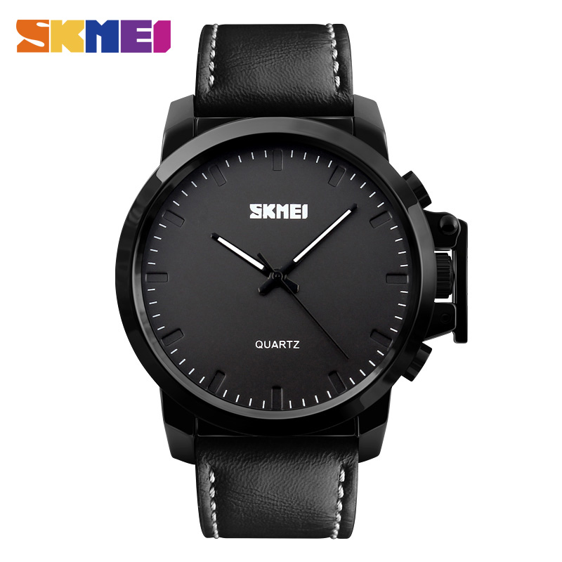 <font><b>SKMEI</b></font> Fashion Casual Men Quartz Watches Big Dial 3Bar Waterproof Gentleman Buckle Wristwatches Silicone Strap Time Clock image