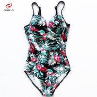 Coocloผู้หญิงชุดว่ายน้ำชุดว่ายน้ำone pieceพิมพ์ดอกไม้สปาสายแข็งเอวสูงกีฬาเซ็กซี่