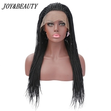 JOY&BEAUTY Synthetic Lace Front Wig For Black Woman 24 Inch Natural black Hand Knitting long pre braided box braids Wigs