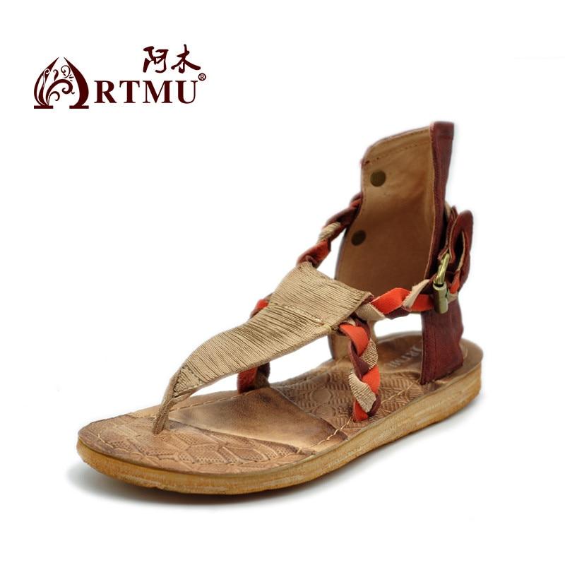 Здесь продается  Artmu Original Cowhide Women Sandals Female Flat Casual Mixed Colors Handmade Beach Sandals ZH345B-32  Обувь