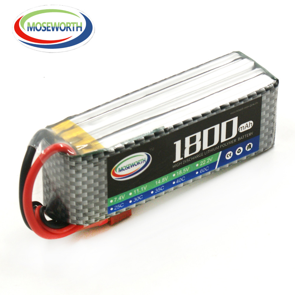 MOSEWORTH 4S RC LiPo Battery 14.8V 1800mah 60C for Helicopter Quadrotor Airplane Car Li-ion Cell