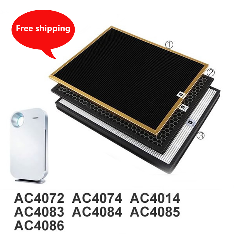3pcs/lot ac4142 filter kit for Philips AC4072 AC4074 AC4083 AC4084 AC4085 AC4086 AC4014 ACP073 Hepa filters air purifier parts