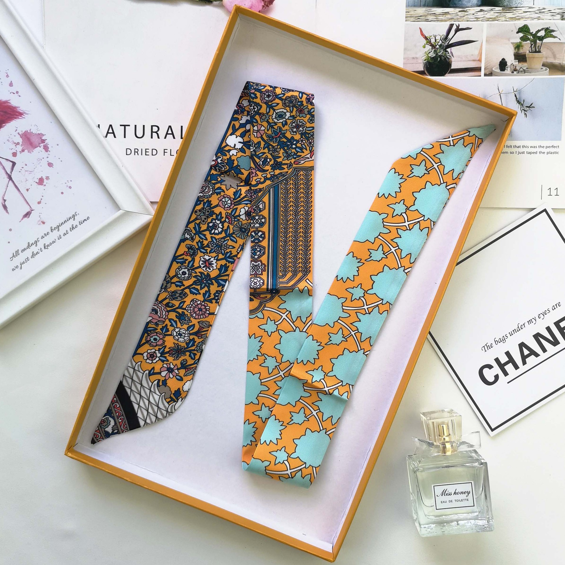 Brand Luxury 6colors Women Sharp-angled Scarf Water Glass Cup Prints Long Wraps Scarves Shawl Handkerchief Bag Decor