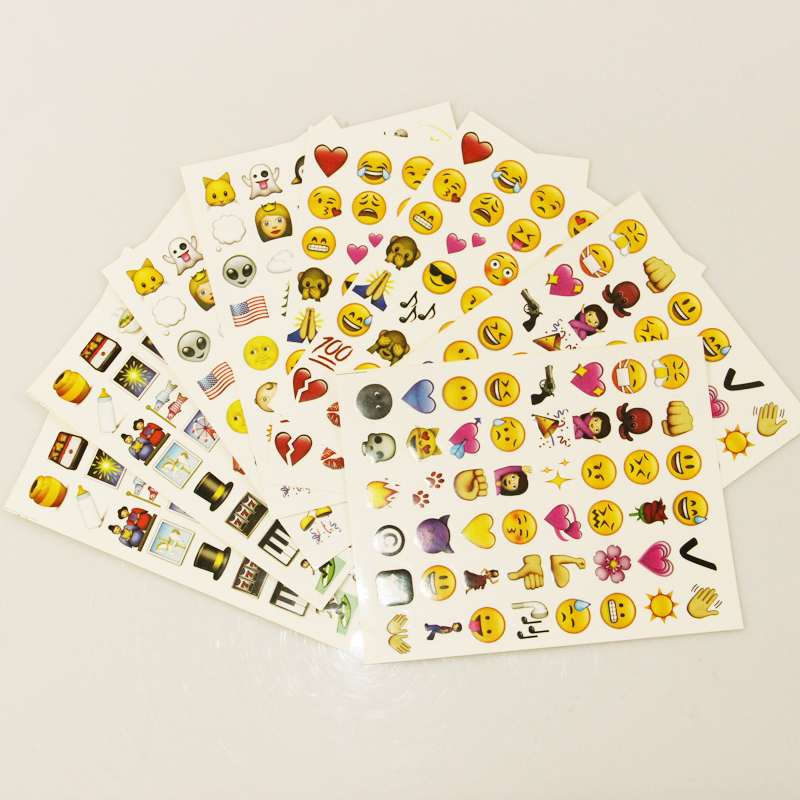 1PCS Sheet(48stickers ) Cute Lovely 480 Die Cut Emoji Smile Sticker For Notebook Message High Vinyl Funny Creative