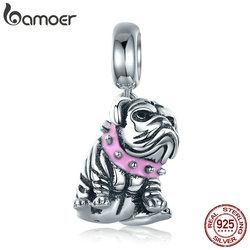 BAMOER Authentic 925 Sterling Silver Cute English Bulldog Dog Charm Beads fit Original Charm Bracelet DIY Jewelry Making SCC552