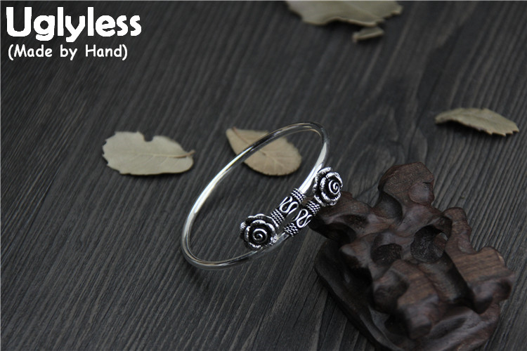 Uglyless Real S925 Sterling Silver Women Retro Fine Jewelry Thai Silver Handmade Rose Flower Bangles Opening Ethnic Thin Bangle