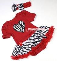 Valentine Hot Red Zebra coeur combinaison barboteuse bébé fille robe rouge jupe de zèbre NB-12Month MAJSA0341