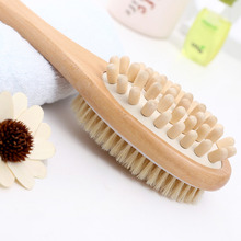 35cm 2-in-1 Long Handle Wooden Spa Shower Brush Bath Body Ma