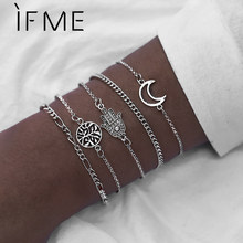 IF ME Charm Vintage Moon Tree Metal Bracelet Set for Women Boho Hasma Hand Silver Color Chain Bracelets Bangles Jewelry 2019 NEW(China)