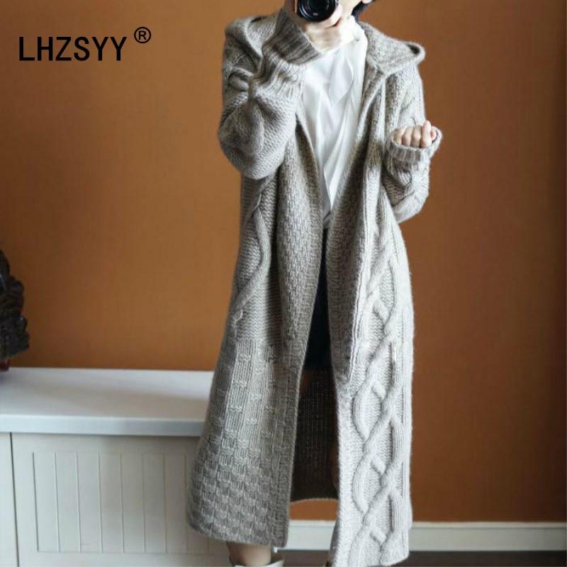 LHZSYY Automne hiver Nouveau manteau à capuchon Cardigan En Cachemire Chandail de femmes Solide couleur Manteau épais doux Cardigan de mode manteau long