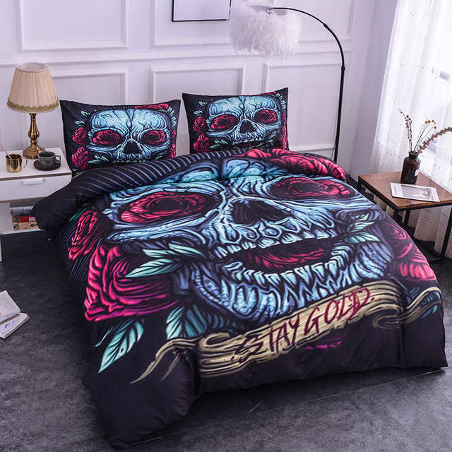 3D STAY GOLD SKULL BEDDING SETS