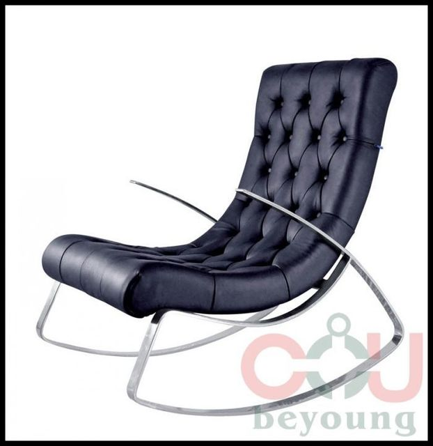 Stainless Steel Frame Rocking Chair Rocking Recliner Leather Lounge Chair  Fabric
