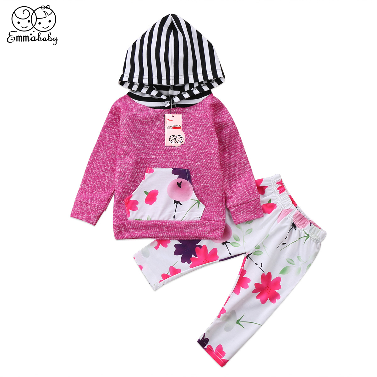 Black Friday Deals Spring Autumn Floral Outfit Newborn Infant Baby Girls Hooded Tops T-shirt Floral Leggings Outfit Set Clothes image