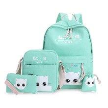 Розовый кот печати Рюкзаки для опрятный подростковый Школьный для Обувь для девочек 4/комплект Для женщин рюкзак мятно-зеленый Япония и корейский Mochila женский
