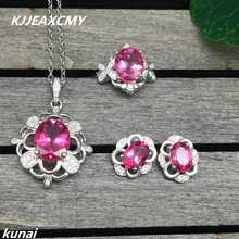 цена KJJEAXCMY Fine jewelry, Multicolored jewelry 925 silver inlay natural Topaz powder simple wholesale female suit онлайн в 2017 году