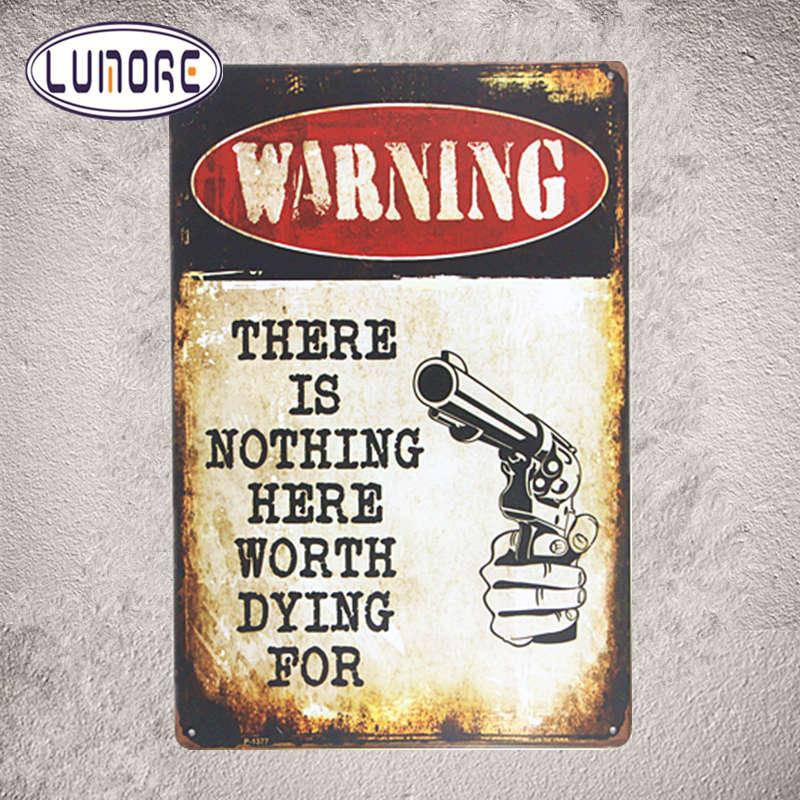 Металл Олово Признаки Предупреждение выстрел нет ничего здесь стоит умирает для декора ремесло настенная роспись