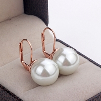 Free Shipping Viennois Fashion Crystal Cymophane Earrings Jewelry Wholesale 18k Rose Gold Plated Imitation Pearl Earrings