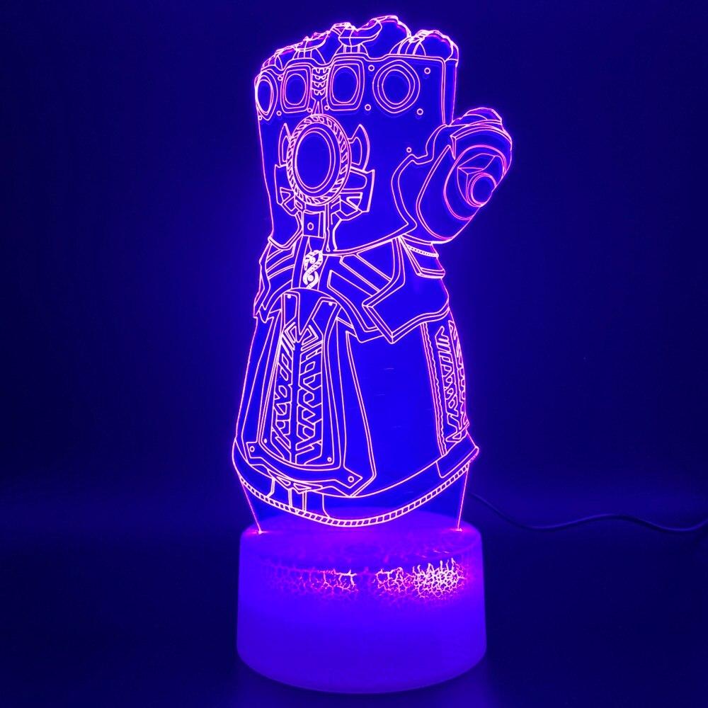 3d Night Lamp Marvel Thanos Glove Design Home Decoration Crafts Boys Bedroom Nightlight Childrens Birthday Gift LED Night Light3d Night Lamp Marvel Thanos Glove Design Home Decoration Crafts Boys Bedroom Nightlight Childrens Birthday Gift LED Night Light